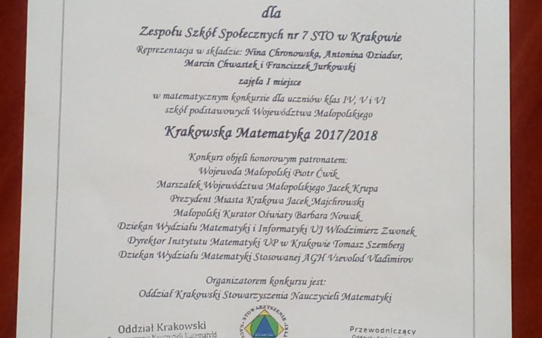 Imiejsce wkonkursie Krakowska Matematyka!