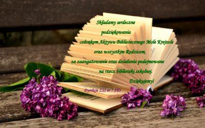 Podziękowania dla Aktywu Bibliotecznego orazRodziców naszej Szkoły